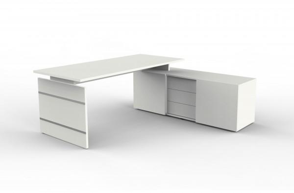 Form 4 Komplettarbeitsplatz, Eckkombination aus Schreibtisch und Sideboard, Weiß