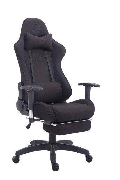 Racing Bürostuhl Turbo Stoff mit Fußablage, schwarz/schwarz