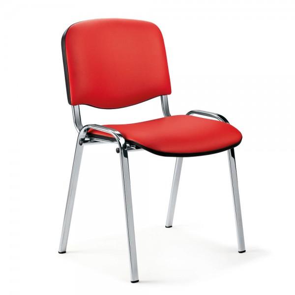 Besucherstuhl ISO Bezug Kunstleder, rot