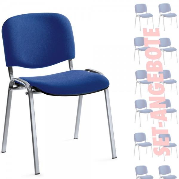 8er Set-Besucherstühle ISO Bezug Stoff Basic, blau