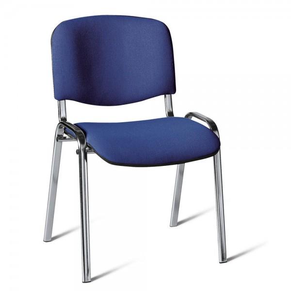 Besucherstuhl ISO Stoff Blau / Verchromt