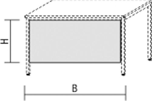 Knieraumblende mit Montage-Set, 200x52cm, Graphit