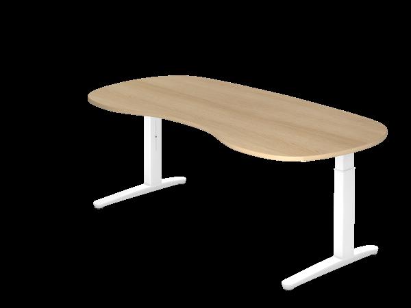 Schreibtisch C-Fuß 200 x 100 cm Eiche / Weiß