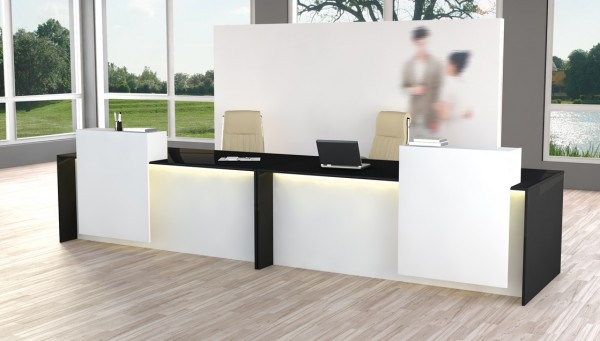 Design-Theke Rezeption Palermo, Weiß / Anthrazit - bis 4m