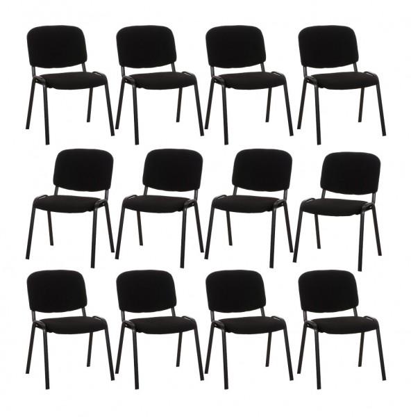 12er Set Besucherstuhl Ken, schwarz