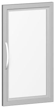 Glastür satiniert im Holzrahmen, für Korpusbreite 40 cm, 2 Ordnerhöhen, Silber