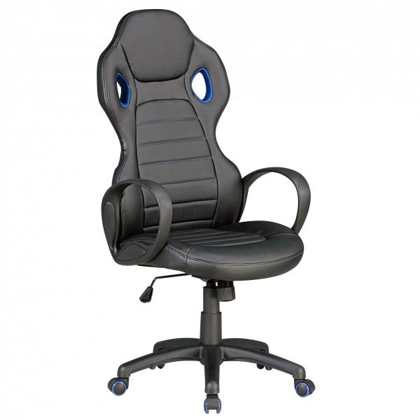 MONZA Bürostuhl Schreibtischstuhl Chefsessel, Kunstleder Schwarz Blau