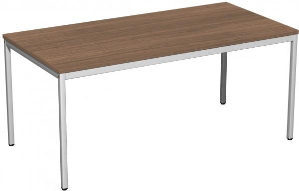 Konferenztisch Viereckfuß, 160x80cm, Nussbaum / Lichtgrau