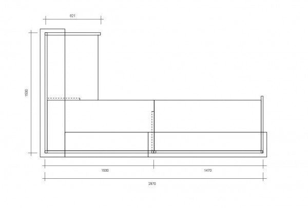 Empfangstheke ECKIG / Silber / Buche / 297x110x150 cm