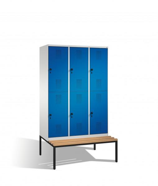 Doppelstockspind Evolo mit Sitzbank, 6 Fächer, 209x120x50/81cm