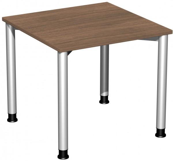 Schreibtisch, höhenverstellbar, 80x80cm, Nussbaum / Silber
