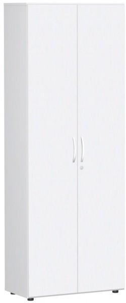 Garderobenschrank mit ausziehbarem Garderobenhalter, 80x42x216cm, Weiß Weiß