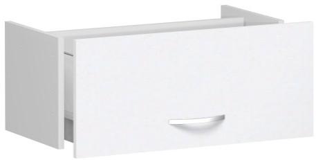 Hängeregistraturschublade für Korpusbreite 80cm, 1 Ordnerhöhe, Weiß