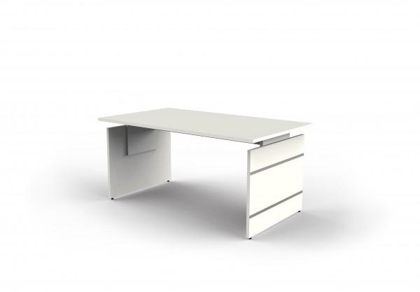 Höhenverstellbarer Wangenschreibtisch Form4, 160x80x68-76 cm, Weiß
