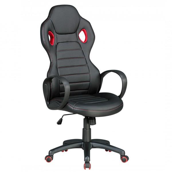 MONZA Bürostuhl Schreibtischstuhl Chefsessel, Kunstleder Schwarz Rot