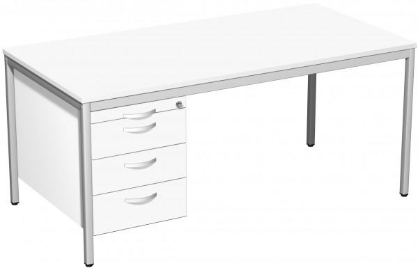 Schreibtisch mit Hängecontainer, 160x80cm, Weiß / Lichtgrau