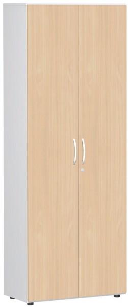 Garderobenschrank mit ausziehbarem Garderobenhalter, 80x42x216cm, Buche Weiß