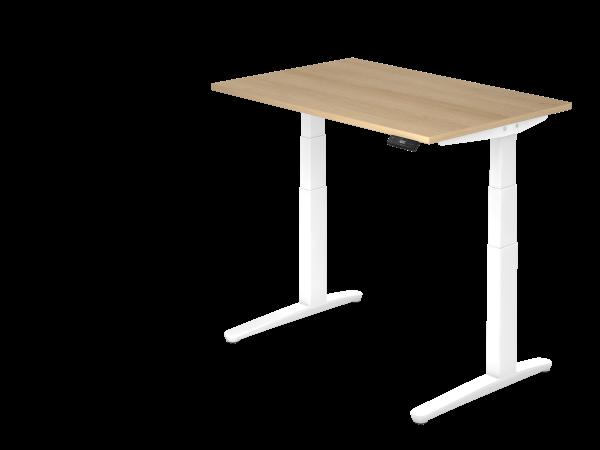 Sitz-Steh-Schreibtisch elektrisch 120 x 80 cm Eiche / Weiß