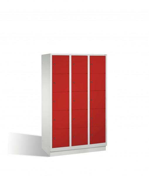 Fächerschrank Classic auf Sockel, 15 Fächer, 180x120x50cm