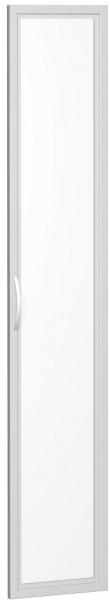 Glastür satiniert im Holzrahmen, für Korpusbreite 40 cm, 6 Ordnerhöhen, Silber