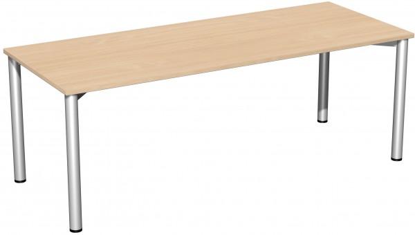 Schreibtisch 4-Fuß 200 x 80 cm Buche / Silber