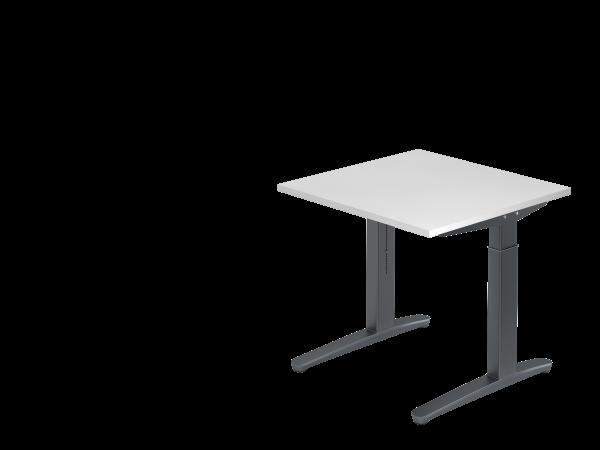 Schreibtisch C-Fuß 80 x 80 cm Weiß / Graphit