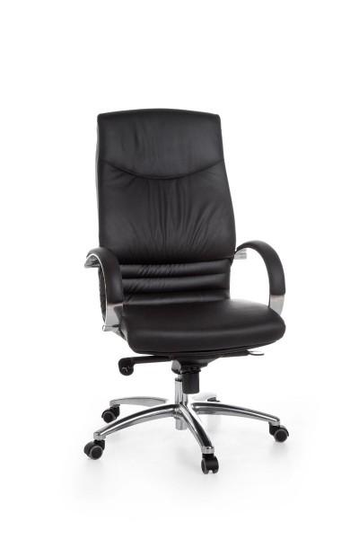 UDINE Bürostuhl, Schreibtischstuhl, Chefsessel, Echtleder Schwarz