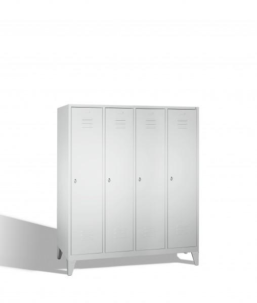Umkleidespind Classic auf Füßen, 4 Abteile, 185x159x50cm
