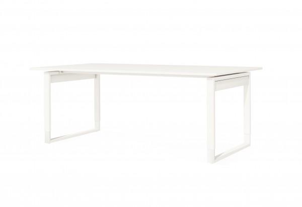 Höhenverstellbarer Schreibtisch Fresh, 200x100 cm, Bügelgestell, Weiß