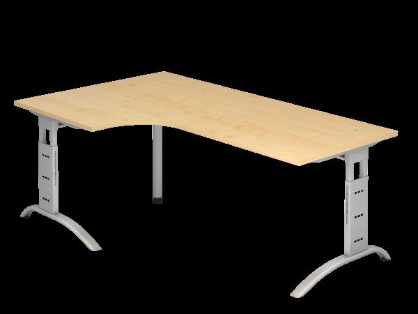 Winkeltisch 90° C-Fuß 200 x 120 cm Ahorn / Silber