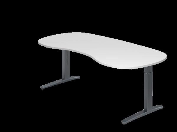 Schreibtisch C-Fuß 200 x 100 cm Weiß / Graphit