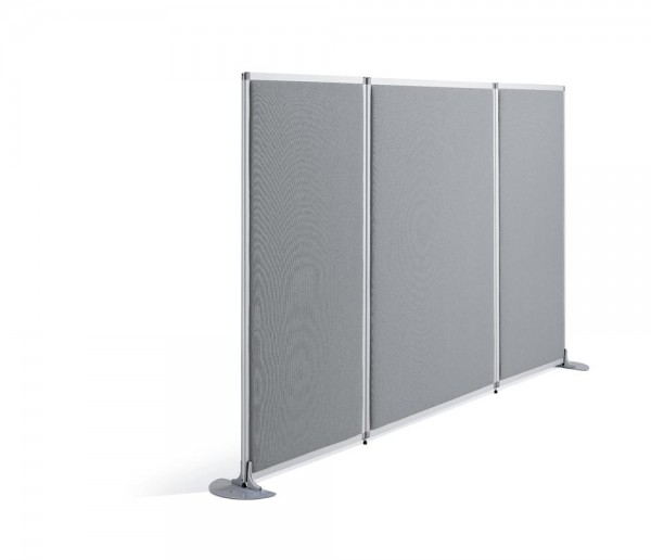 Stellwand / Trennwand MIAMI PLUS 160 x 121 x 4 cm Klaracrylglas Stoff Grau