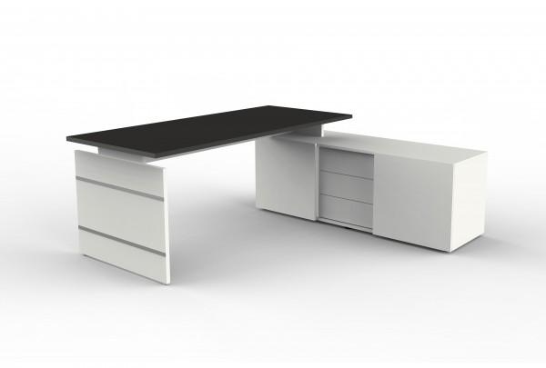 Form 4 Komplettarbeitsplatz, Eckkombination aus Schreibtisch und Sideboard, Weiß / Anthrazit