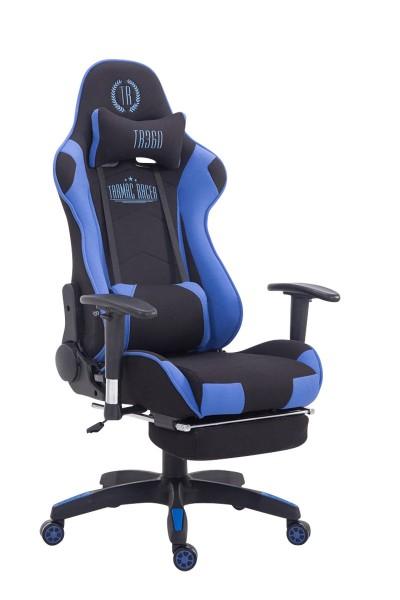 Racing Bürostuhl Turbo Stoff mit Fußablage, schwarz/blau