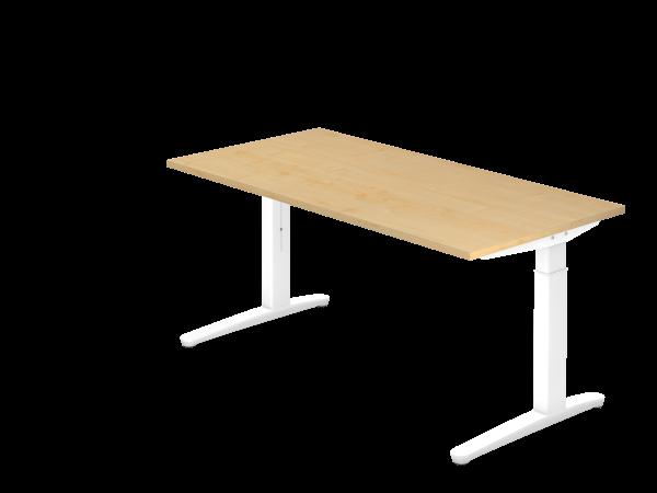 Schreibtisch C-Fuß 160 x 80 cm Ahorn / Weiß