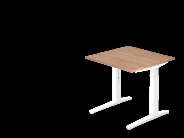 Schreibtisch C-Fuß 80 x 80 cm Nussbaum / Weiß