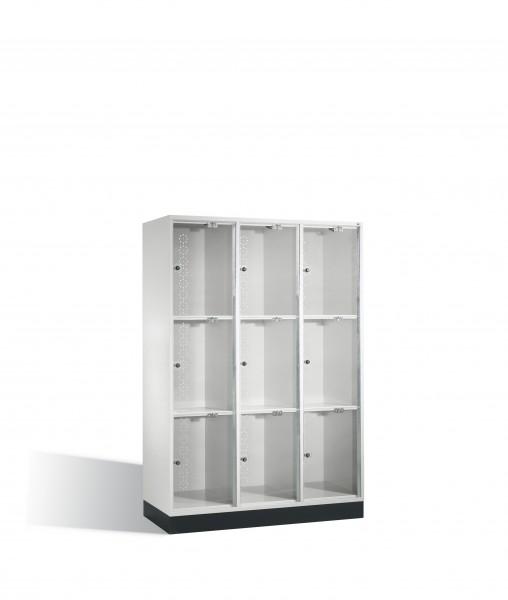 Schließfachschrank Intro XL mit Acrylglastüren, 9 Fächer, 175x122x50cm