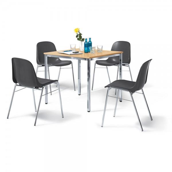 SET, 1 Tisch, 4 Stühle anthrazit Tisch 80x80x72 cm