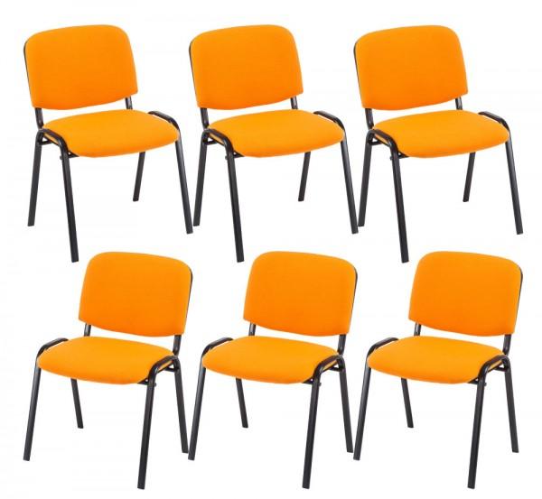 6er Set Besucherstuhl Ken, orange