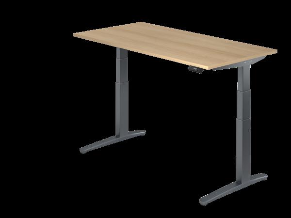 Sitz-Steh-Schreibtisch elektrisch 160 x 80 cm Eiche / Graphit