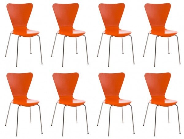 8er Set Besucherstuhl Calisto Orange