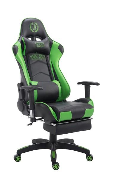 Racing Bürostuhl Turbo mit Fußablage, schwarz/grün