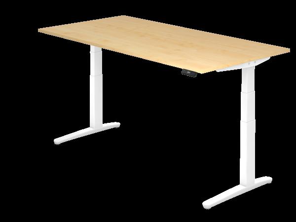 Sitz-Steh-Schreibtisch elektrisch 200 x 100 cm Ahorn / Weiß