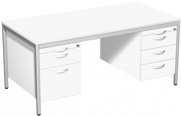 Schreibtisch mit 2 Hängecontainern, 160x80cm, Weiß / Lichtgrau
