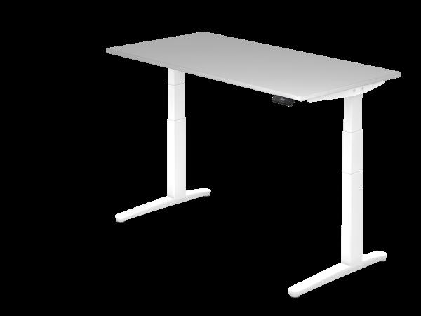 Sitz-Steh-Schreibtisch elektrisch 160 x 80 cm Grau / Weiß