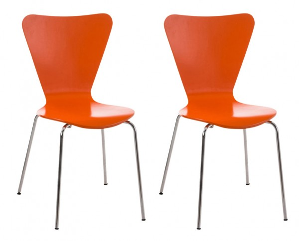 2er Set Besucherstuhl Calisto, orange