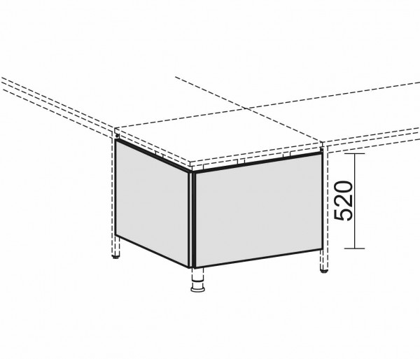 Knieraumblende mit Montage-Set, für Volleck-Platte, Graphit