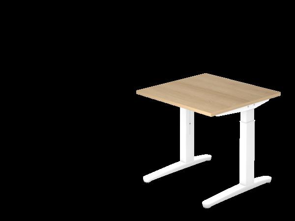 Schreibtisch C-Fuß 80 x 80 cm Eiche / Weiß