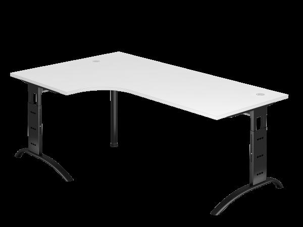 Winkeltisch 90° C-Fuß 200 x 120 cm Weiß / Schwarz