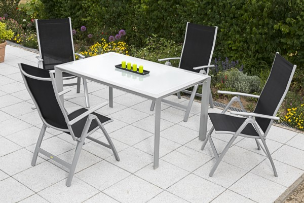 5tlg. Carrara Set schwarz, 4 Carrara Klappsessel, 1 Tisch, 150 x 90 cm